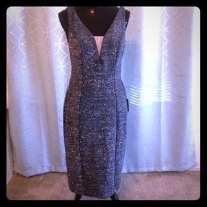 NWT Grey/Green Illusion Bodycon Sparkle Dress